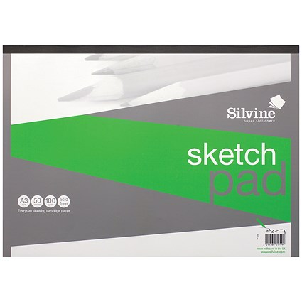 Silvine Popular Drawing Pad / A3 / Acid-free / 100gsm / 50 Sheets