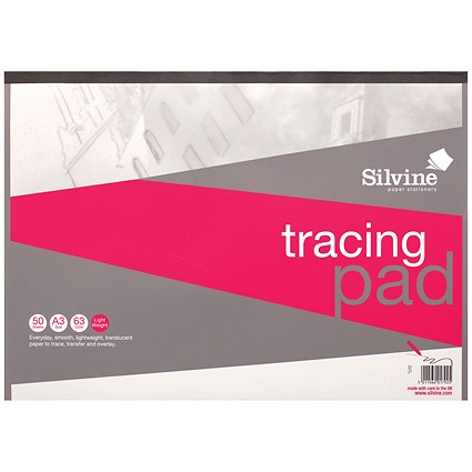 Silvine Tracing Pad / A3 / Acid Free / 50gsm / 50 Sheets