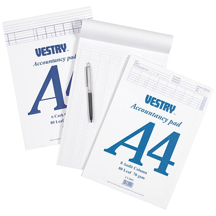 Vestry Accountants Pad / A4 / 8 Cash Columns / 80 Leaf / Ref: CV2064