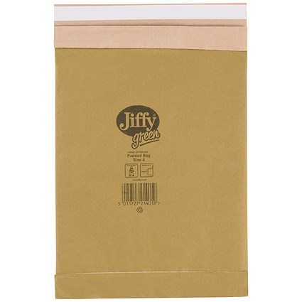 Jiffy No.4 Padded Bag Envelopes / 225x343mm / Brown / Pack of 100