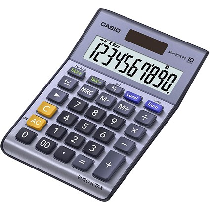 Casio Desktop Calculator, 10 Digit, 3 Key, Battery/Solar Power, Silver