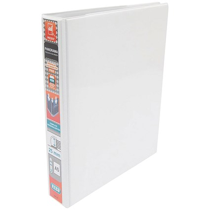 Elba Panorama Presentation Ring Binder, A5, 2 D-Ring, 25mm Capacity, White, Pack of 6