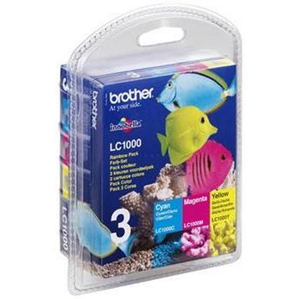 Brother LC1000RBWBP Inkjet Cartridge Rainbow Pack - Cyan, Magenta and Yellow (3 Cartridges)