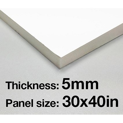 Foamboard / 30'' x 40'' / White / 5mm Thick / Box of 25