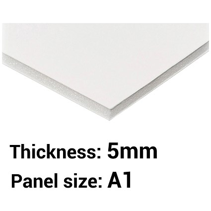 Foamboard, A1, White, 5mm Thick, Box of 10