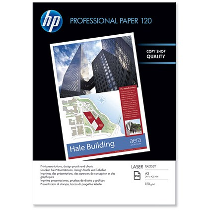 HP A3 Professional Glossy Laser Photo Paper / White / 120gsm / 250 Sheets