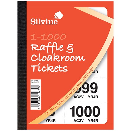 Cloakroom or Raffle Tickets, Numbered 1-1000, Assorted Colours, Pack of 6