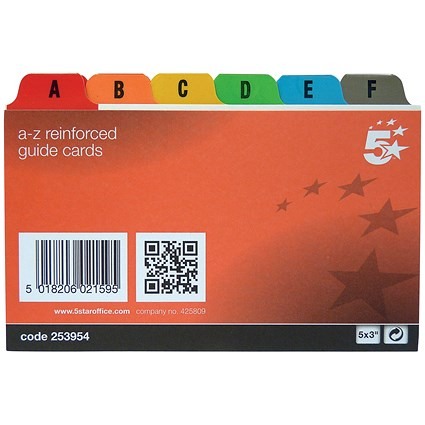 5 Star Guide Cards / A-Z / 127x76mm / White with Coloured Tabs / Pack of 24