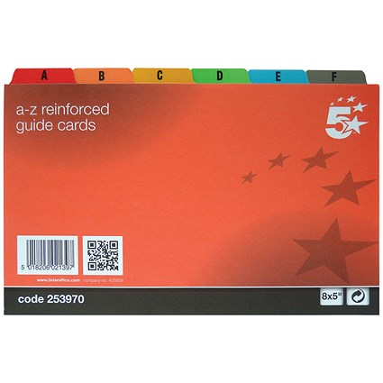 5 Star Guide Cards / A-Z / 203x127mm / White with Coloured Tabs / Pack of 24