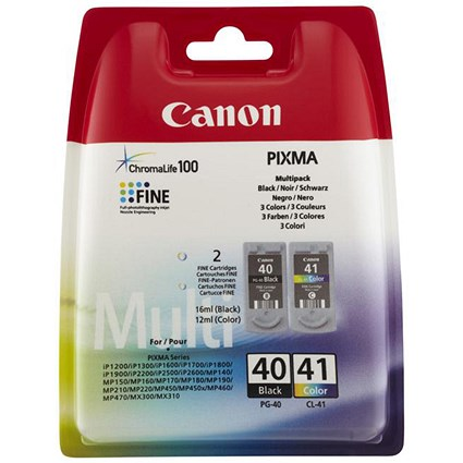 Canon PG-40/CL-41 Black and Colour Inkjet Cartridges (2 Cartridges)