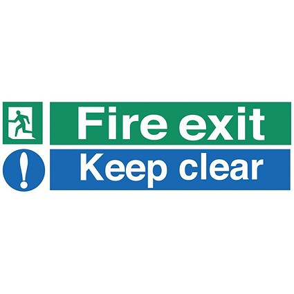 Stewart Superior Fire Exit Sign Keep Clear 450x150mm Self-adhesive Vinyl