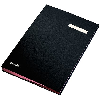 Signature Book, 340x240mm, 20 Compartments, Black