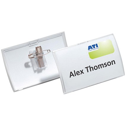 Durable Name Badge / Click Fold / Combi-Clip / 90x54mm / Pack of 25