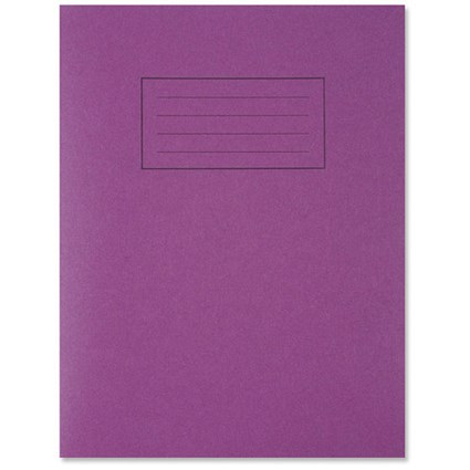Silvine Ruled Exercise Book / 229x178mm / With Margin / 80 Pages / Purple / Pack of 10