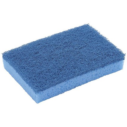 Sponge Scourer High Quality Non Scratch, Blue, Pack of 10