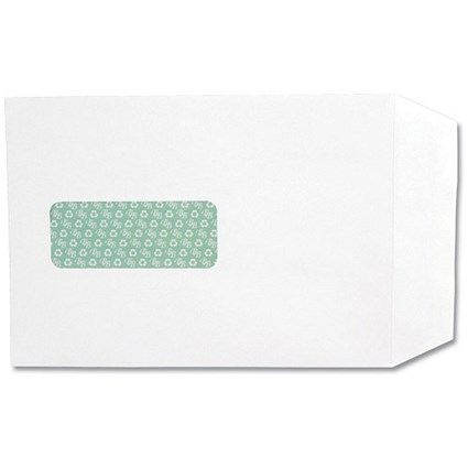 Basildon Bond Recycled C5 Pocket Envelopes / Window / White / Peel & Seal / 120gsm / Pack of 50