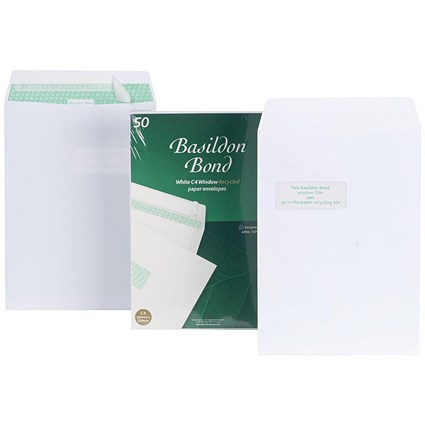 Basildon Bond Recycled C4 Pocket Envelopes / Window / White / Peel & Seal / 120gsm / Pack of 50
