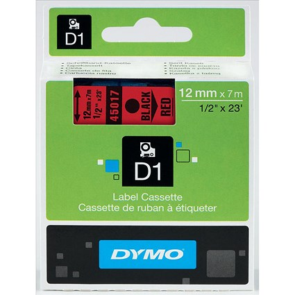 Dymo D1 Tape for Electronic Labelmakers 12mmx7m Black on Red Ref 45017 S0720570
