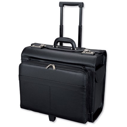 Alassio San Remo Trolley Pilot Case / 2 Combination Locks / Leather-look / Black