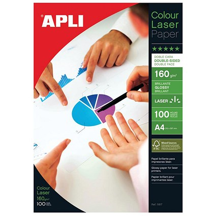 Apli A4 Glossy Double-Sided Laser Photo Paper / White / 160gsm / Pack of 100 Sheets