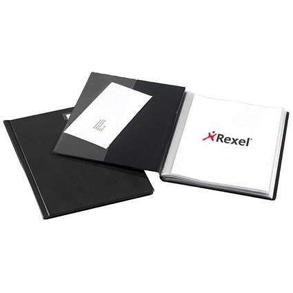 Rexel Nyrex Slimview Display Book, 24 Pockets, A4, Black
