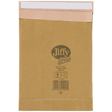 Jiffy No.2 Padded Bag Envelopes / 205x245mm / Brown / Pack of 100