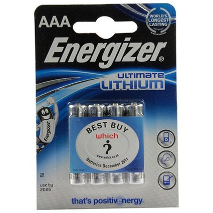 Energizer Ultimate Lithium Battery / LR03 / 1.5V / AAA / Pack of 4