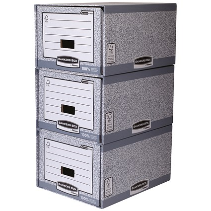 Fellowes Bankers Box, Stackable, Grey & White, Pack of 5