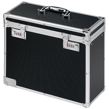 Robust Lockable Personal Filing Case, A4, Black & Chrome