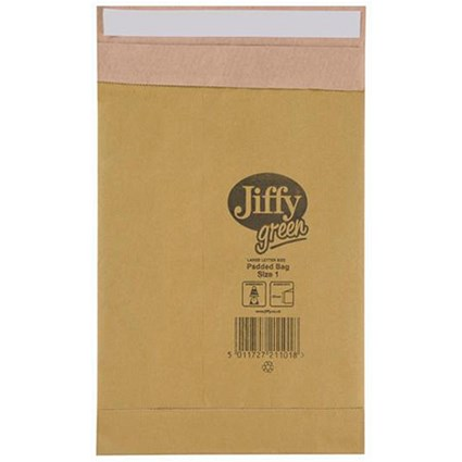 Jiffy No.1 Padded Bag Envelopes / 170x245mm / Brown / Pack of 10