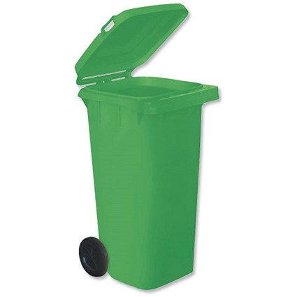Wheelie Bin with Rear Wheels / 120 Litre / Green