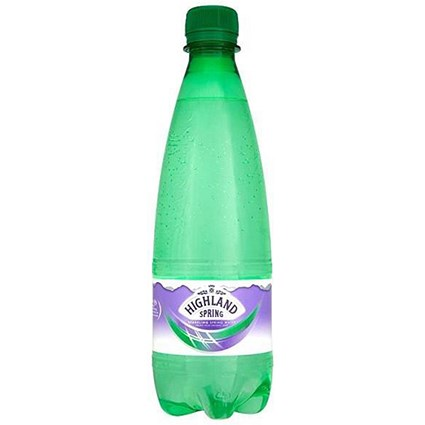 Highland Spring Sparkling Mineral Water - 24 x 500ml Plastic Bottles