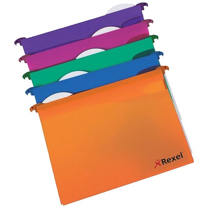 Rexel MultiFiles Extra Suspension Files, Square Base, 30mm Capacity, A4, Assorted, Pack of 10