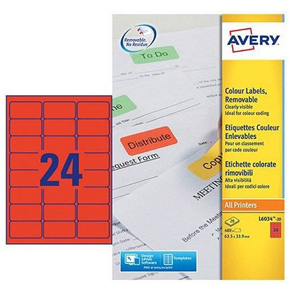 Avery Coloured Laser Labels, 24 per Sheet, 63.5x33.9mm, Red, L6034-20, 480 Labels