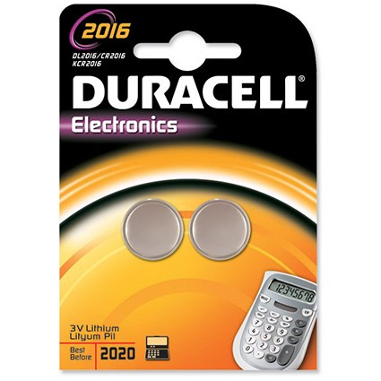 Duracell DL2016 Lithium Battery for Camera Calculator or Pager / 3V / Pack of 2