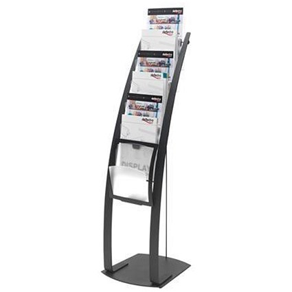 Floorstanding Literature Display / 6 x A4 Pockets / Black