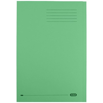 Elba StrongLine Square Cut Folders / 320gsm / Foolscap / Green / Pack of 50