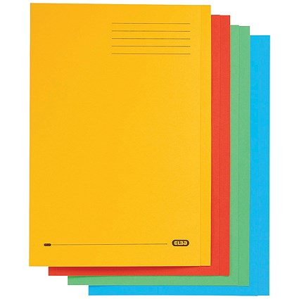 Elba StrongLine Square Cut Folders, 320gsm, Foolscap, Assorted, Pack of 50