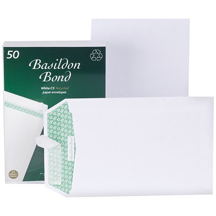 Basildon Bond Recycled C5 Pocket Envelopes, White, Peel & Seal, 120gsm, Pack of 50