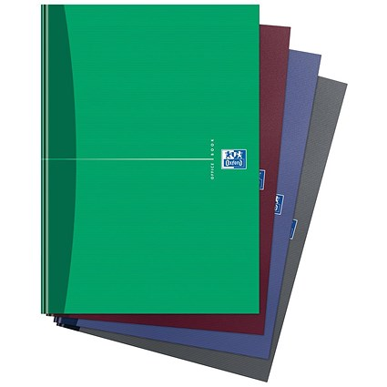 Oxford Office Hard Cover Casebound Notebook / A4 / 192 Pages / Random Colour / Pack of 5