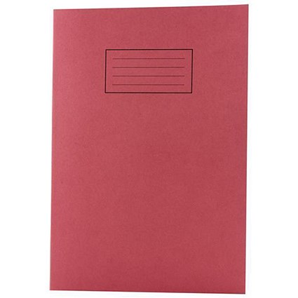 Silvine Ruled Exercise Book, A4, With Margin, 80 Pages, Red, Pack of 10