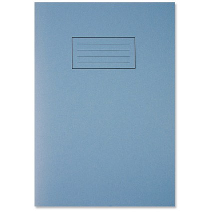 Silvine Ruled Exercise Book, A4, With Margin, 80 Pages, Blue, Pack of 10
