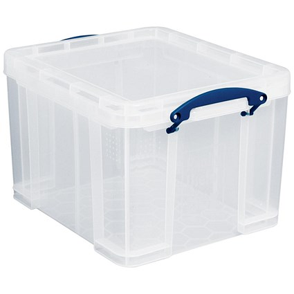 Large (35 Litre) Really Useful Storage Box - Clear Strong Plastic
