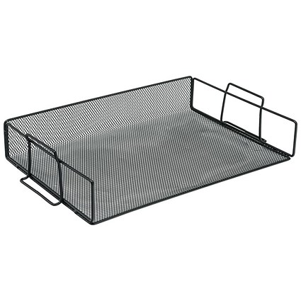 5 Star Scratch-resistant Mesh Letter Tray / Stackable / Front-load / Landscape Foolscap / Black