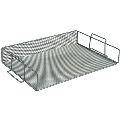 5 Star Scratch-resistant Mesh Letter Tray, Stackable, Front-load, Landscape Foolscap, Silver