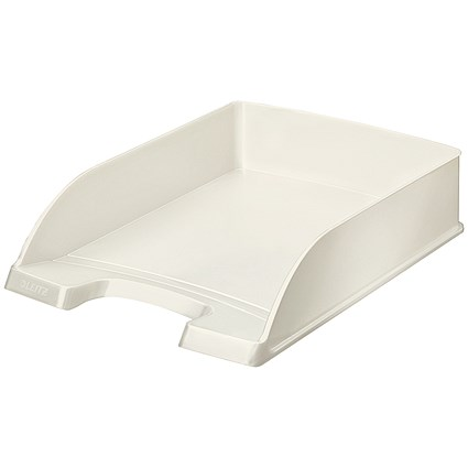 Leitz Bright Stackable Letter Tray - Glossy White Pearl