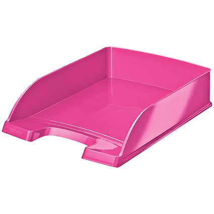 Leitz Bright Stackable Letter Tray - Glossy Metallic Pink