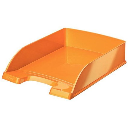 Leitz Bright Stackable Letter Tray - Glossy Metallic Orange