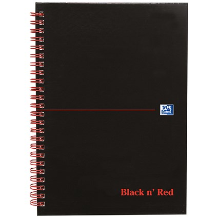 Black n' Red Wirebound Notebook / A5 / Smart Ruled & Perforated / 140 Pages / Pack of 5