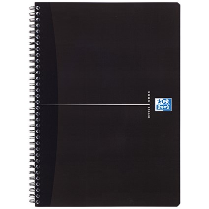 Oxford Office Soft Cover Wirebound Notebook / A4 / Ruled / 180 Pages / Smart Black / Pack of 5